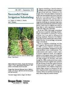 Successful Onion Irrigation Scheduling - Oregon State University