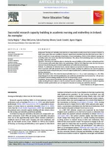 Successful research capacity building in academic ...