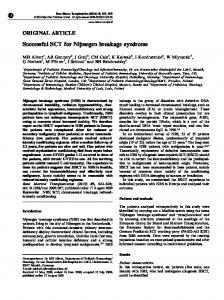 Successful SCT for Nijmegen breakage syndrome - Nature