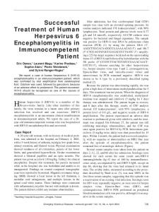 Successful Treatment of Human Herpesvirus 6 ... - CDC stacks