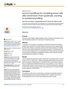 Succinct workflows for circulating tumor cells after enrichment - PLOS