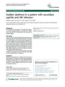 Sudden deafness in a patient with secondary syphilis ... - Springer Link