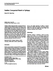 Sudden Unexpected Death in Epilepsy - Springer Link