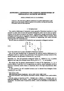 SUFFICIENT CONDITIONS FOR POSITIVE DEFINITENESS OF ...
