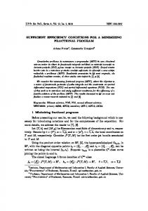 SUFFICIENT EFFICIENCY CONDITIONS FOR A MINIMIZING ...