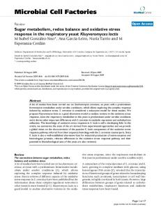 Sugar metabolism, redox balance and oxidative stress response in the ...