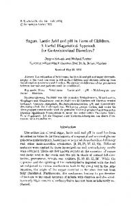 Sugars, lactic acid and pH in feces of children. A ...