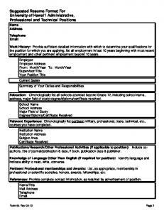 Suggested Resume Format For University of Hawai'i Administrative ...