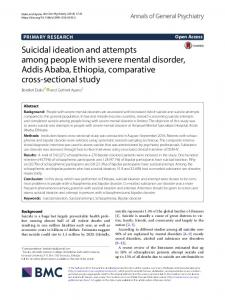 Suicidal ideation and attempts among people with severe mental ...