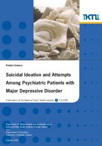 Suicidal ideation and attempts among psychiatric patients ... - CiteSeerX