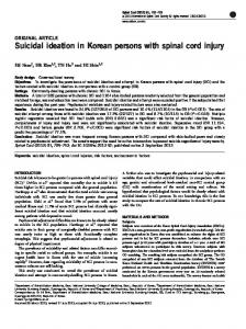 Suicidal ideation in Korean persons with spinal cord