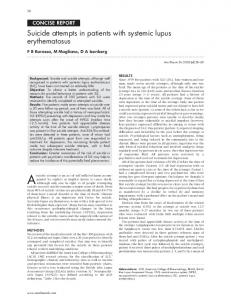 Suicide attempts in patients with systemic lupus erythematosus - NCBI