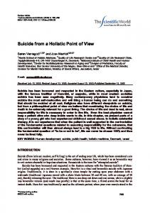 Suicide from a Holistic Point of View
