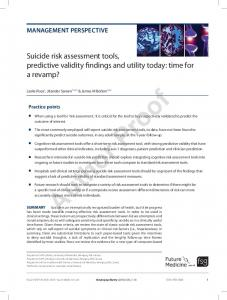 Suicide risk assessment tools, predictive validity ...