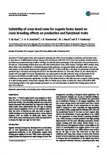 Suitability of cross-bred cows for organic farms ... - Semantic Scholar