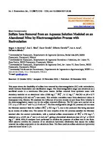 Sulfate Ions Removal from an Aqueous Solution Modeled on an ...
