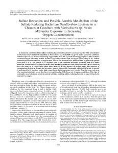 Sulfate Reduction and Possible Aerobic Metabolism of the Sulfate ...