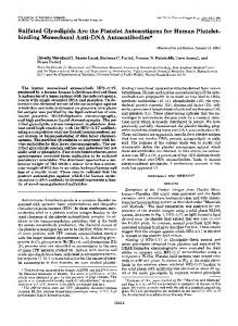 Sulfated Glycolipids Are the Platelet Autoantigens for Human Platelet ...