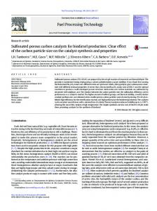 Sulfonated porous carbon catalysts for biodiesel ...