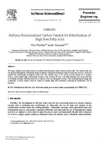 Sulfonic-Functionalized Carbon Catalyst for