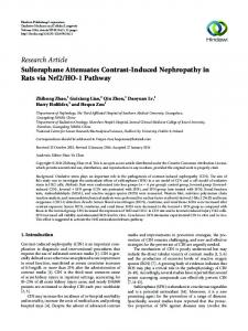 Sulforaphane Attenuates Contrast-Induced Nephropathy in Rats via ...