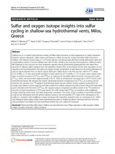 Sulfur and oxygen isotope insights into sulfur cycling in shallow-sea ...