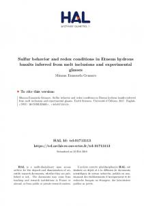 Sulfur behavior and redox conditions in Etnean