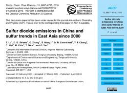 Sulfur dioxide emissions in China and sulfur ... - Atmos. Chem. Phys