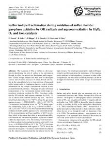 Sulfur isotope fractionation during oxidation of sulfur dioxide - Core