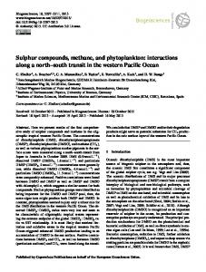 Sulphur compounds, methane, and phytoplankton - Biogeosciences