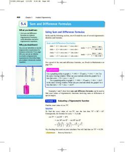 Sum and Difference Formulas Exploration - THS Pre-AP Precalculus