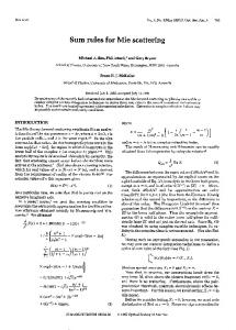Sum rules for Mie scattering - OSA Publishing
