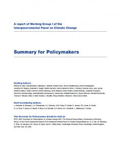 Summary for Policymakers (SPM)