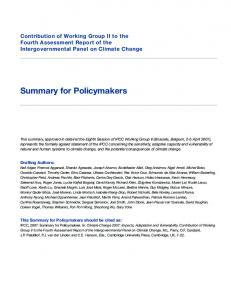 Summary for Policymakers