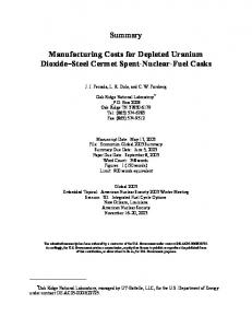 Summary Manufacturing Costs for Depleted Uranium ...