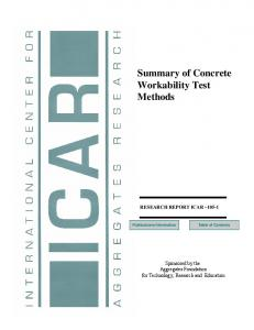 Summary of Concrete Workability Test Methods