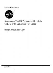 Summary of EASM Turbulence Models in CFL3D With Validation Test ...