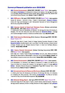 Summary of Research publication as on 28.10.2013