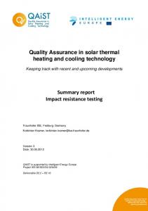 Summary report on impact resistance test - European Solar Thermal ...