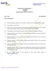 SUMMATIVE ASSESSMENT - 1 SCIENCE CLASS 9 Question paper ...