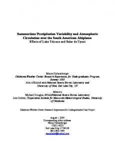 Summertime Precipitation Variability and Atmospheric Circulation over ...