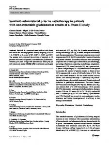 Sunitinib administered prior to radiotherapy in patients with ... - GEINO