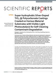 Super-hydrophobic Silver-Doped TiO2 @ Polycarbonate Coatings ...
