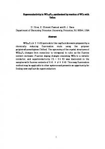 Superconductivity in WO2.6F0.4 synthesized by reaction of ... - arXiv