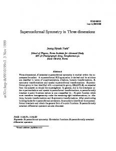 Superconformal Symmetry in Three-dimensions