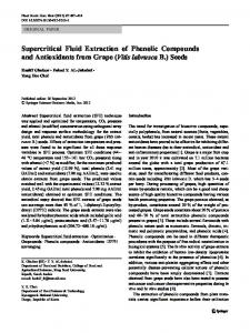 Supercritical Fluid Extraction of Phenolic Compounds and ...