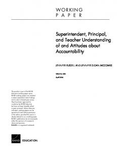 Superintendent, Principal, and Teacher Understanding of and ...