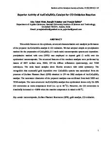 Superior Activity of Au/CeO2/SiO2 Catalyst for CO ...