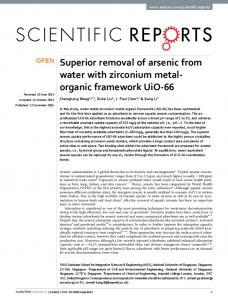 Superior removal of arsenic from water with zirconium metal-organic