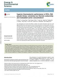 Superior thermoelectric performance in PbTe–